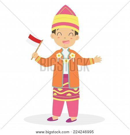 Boy wearing South Kalimantan traditional dress and holding Indonesian flag. Indonesian children, South Kalimantan traditional dress cartoon vector