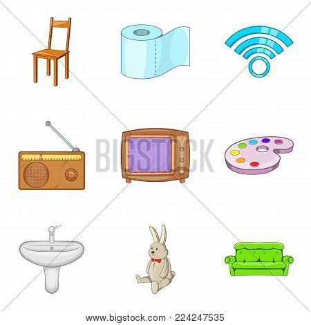 Piece of furniture icons set. Cartoon set of 9 piece of furniture vector icons for web isolated on white background