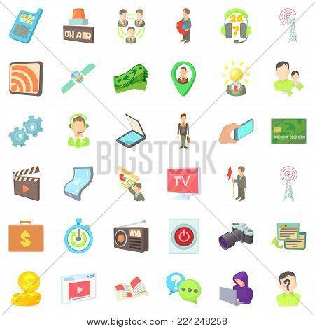 Media market icons set. Cartoon set of 36 media market vector icons for web isolated on white background
