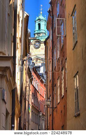 Urban scenic of Gamla Stan in Stockholm, Sweden