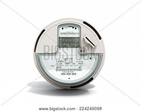 Modern digital electric meter 3d render on white