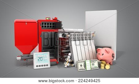modern concept heating saving solid fuel boiler battery electric boiler and thermostat 3d render on a grey background