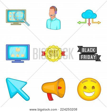 Personal computer icons set. Cartoon set of 9 personal computer vector icons for web isolated on white background