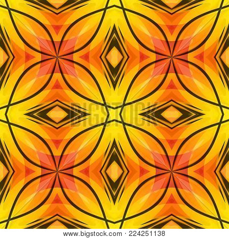 Orange yellow red abstract texture with black lines. Bright seamless tile. Motif for home decor projects. Fabric design sample. Optimistic and energetic background illustration. Textile print pattern.