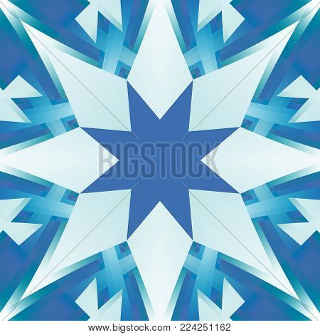 Square seamless tile in shades of blue. Textile print star pattern. Cold toned polished abstract texture. Detailed shiny background illustration. Creative tileable decor motif. Fabric design sample.