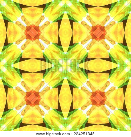 Yellow green red square seamless tile. Warm toned polished abstract texture. Detailed shiny background illustration. Luxury fabric design sample. Textile print pattern. Creative tileable decor motif.
