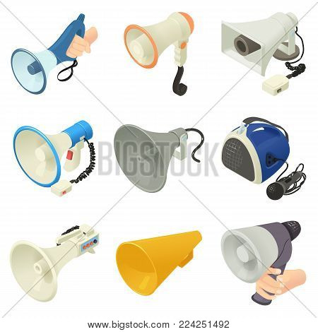 Megaphone loud speaker icons set. Isometric illustration of 16 megaphone loud speaker alcohol logo vector icons for web