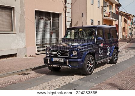 Gatteo, Fc, Italy - May 19: Femal Crew On A Mercedes Amg G 63 In Rally