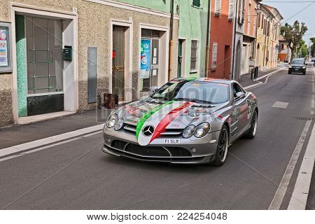 Gatteo, Fc, Italy - May 19: Driver And Co-driver On A Supercar Mercedes-benz Slr Mclaren 722 Coupé I