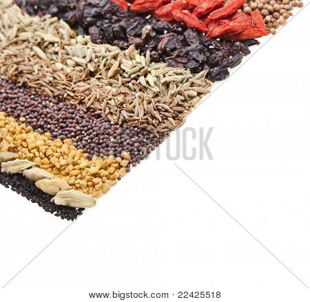 spices on white