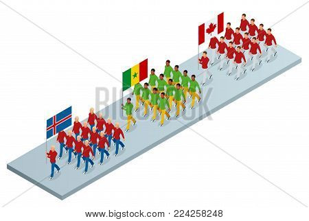 The opening ceremony concept. Carrying out the flag of Iceland, Cameroon and Canada, . International sports competitions. Vector isometric illustration