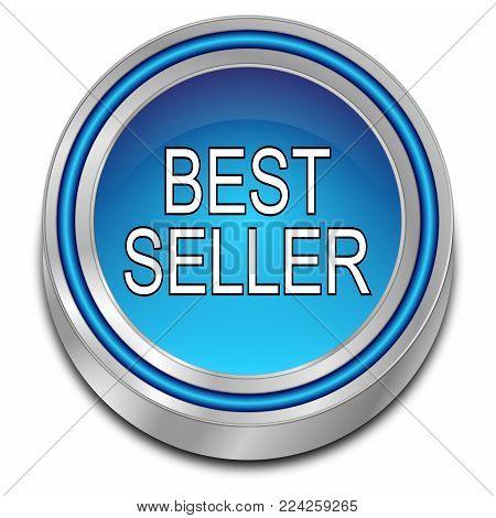 decorative blue Bestseller button - 3D illustration