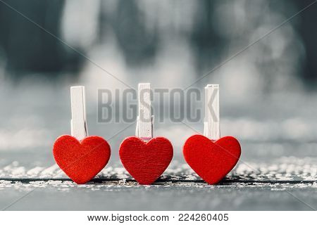 Love concept for mother's day and valentine's day. Valentine. Love. Valentine's Day postcard. Happy Valentine's day hearts on wooden background. Valentine card with space for text