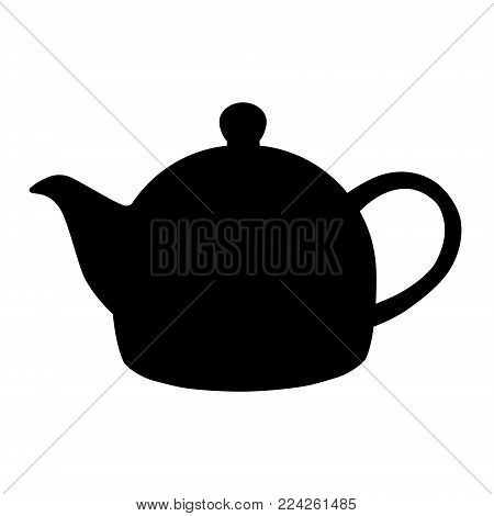 Vector illustration black silhouette of teapot icon isolated on white background. Tea party or afternoon tea