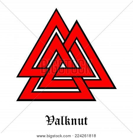Valknut symbol of the world end of the tree Yggdrasil. Sign of the god Odin. It refers to the Norse culture. Triangle logo. Viking Age symbol.