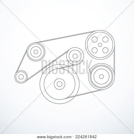 Auxiliary belt and pulleys isolated. Vector illustration eps 10