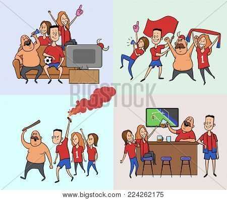 A group of friends, football fans cheering for their favourite football team. Men and women watch soccer at the stadium, in the bar and at home on TV. Football hooligans, ultras. Vector illustration.