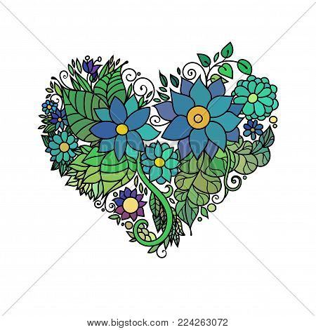 Ornamental St.Valentine's greeting card with colorful zentangle floral heart sketch. Vector heart illustration with flowers and leaves pattern on white background.