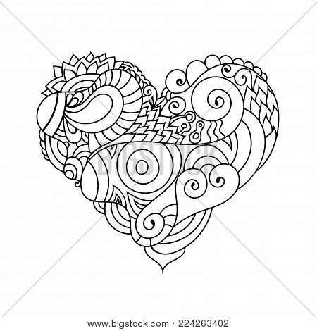 Ornamental St.Valentine's greeting card with colorful zentangle doodle heart sketch. Ethnic romantic tribal wavy vector heart illustration.