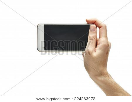 Isolate mobile phone in hand on white background, communication concept