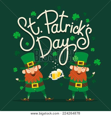 Saint Patrick's Day. Set of two funny Leprechauns with inscription: «Saint Patrick's Day» on green background.