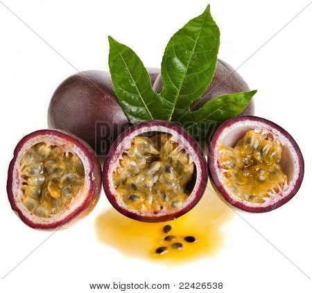 Passion fruit on a white background poster