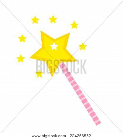 Magic wand icon, flat, cartoon style. Isolated on white background. Vector illustration