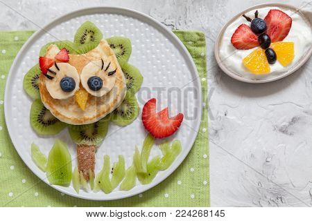 Funny cute owl pancake with fruits for kids breakfast