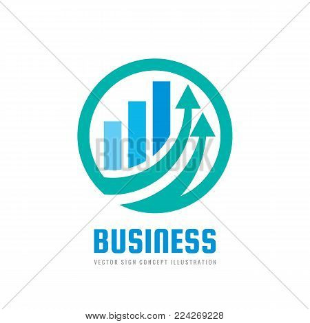 Business finance logo template - vector concept illustration. Economic infographic sign. Arrows and infograph bar. Growth graphic symbol. Investment icon. Design element