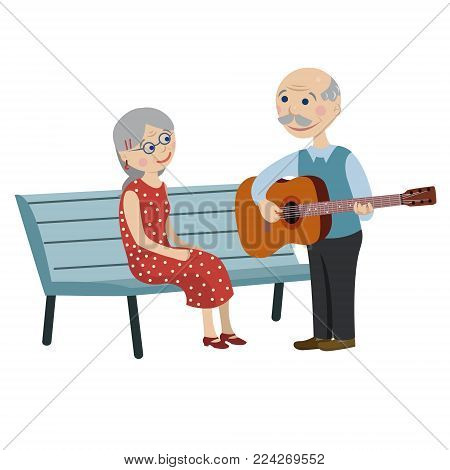 grandpa plays guitar for a grandmother on a date