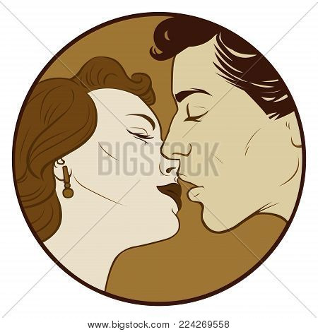 Love Pop Art illustration of Kissing Couple.Pop Art love. Valentines day postcard.People in retro style pop art and vintage advertising. Kissing couple