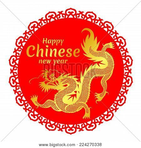 Happy chinese new year banner with Gold china Dragon on Red Chinese circle frame vector design