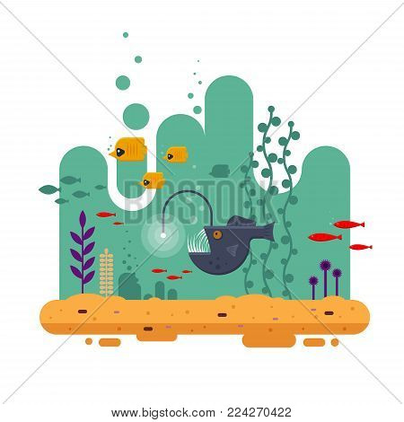 The Angler fish swims on depth among other fish, the colorful underwater world with seawood and sand - flat vector illustration.