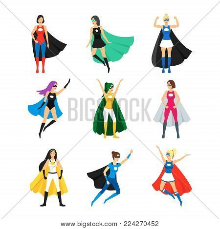 Cartoon Female Superhero Characters Icons Set Superheroine Concept Element Flat Design Style Different Types. Vector illustration of Icon Comic Girl