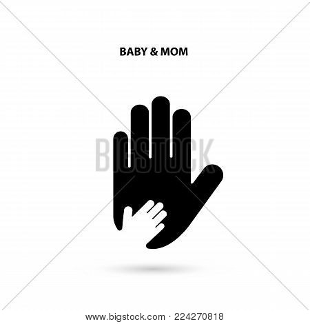 Big hand and small hand icon.Idea of the sign for the association of care.Hand in hand concept.Baby and Mom hand.Vector illustration