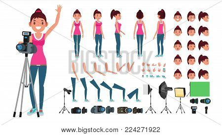 Photographer Woman Vector. Taking Pictures. Animated Female Character Set. Full Length. Accessories, Poses, Face Emotions, Gestures. Isolated Flat Cartoon Illustration
