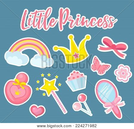 Little princess set of modern fashionable stickers, patches badges. Cute, pink accessories collection with mirror, perfume, rainbow, flowers, crown, magic wand. Vector illustration