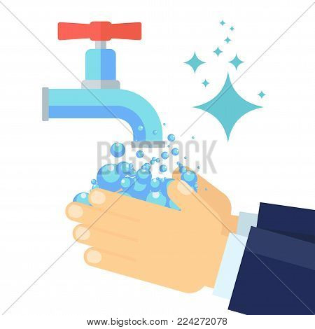 Washing hands. Hands of businessman in suit are washed with soap and water. Flat vector cartoon illustration. Objects isolated on white background.