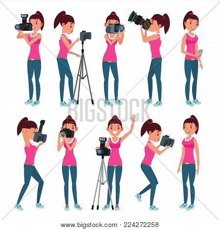 Photographer Woman Vector. hotographer Making Photos. Digital Camera And Professional Photo Equipment. Girl Taking Pictures. Isolated On White Cartoon Character Illustration