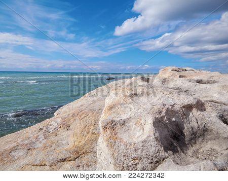 Rocky shore of the Caspian Sea. Seascape.
