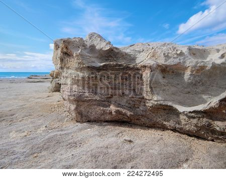 Rocky shore of the Caspian Sea. Lower point shooting. Close-up.