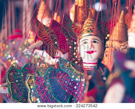 Traditional Khmer puppets for opera and theater. Color toned photo