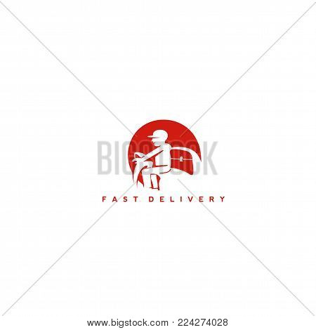 minimal delivery man logo in red color on white background with typography vector illustration.