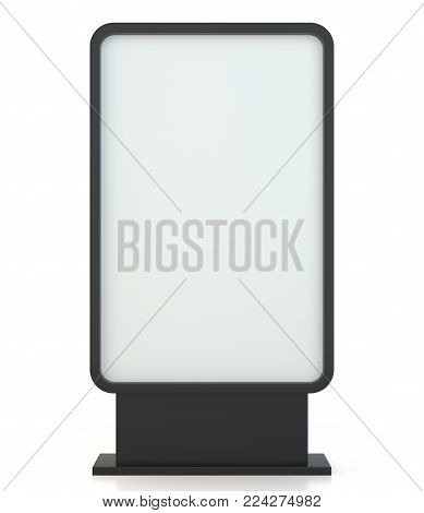 Advertising digital signage. Multimedia stand. Outdoor advertising banner or Lightbox. Isolated on white background. 3d illustration