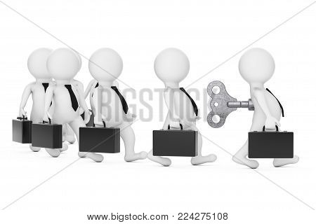 Row of 3d Businessman Persons with Leader in front with Old Metal Windup Key in His Back on a white background. 3d Rendering