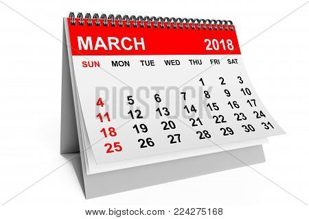 2018 year calendar. March calendar on a white background. 3d rendering