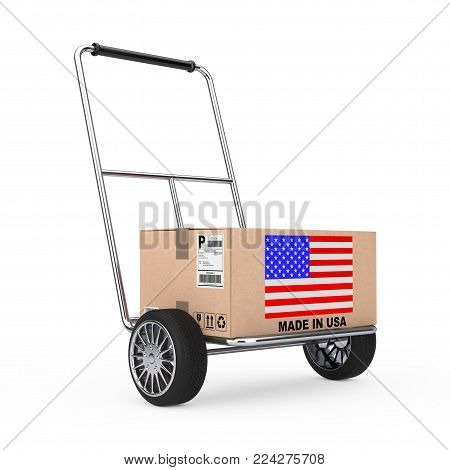Cardboard Box with USA Flag over Hand Truck on a white background. 3d Rendering