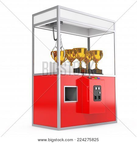 Carnival Red Toy Claw Crane Arcade Machine with Golden Trophy on a white background. 3d Rendering