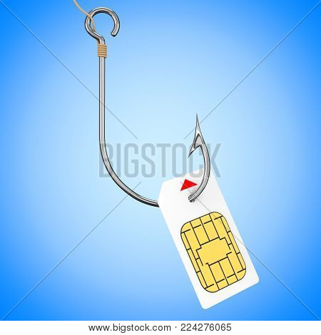Sim Card with Fishing Hook on a blue background. 3d Rendering