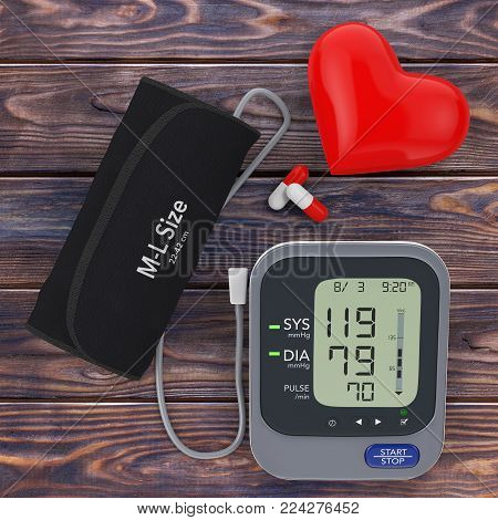 Pills and Red Heart near Modern Digital Blood Pressure Measurement Monitor Equipment on a wooden table. 3d Rendering